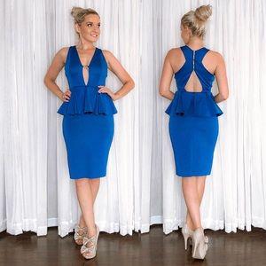Blue Peplum Sexy Cocktail Dress